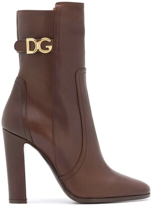Dolce & Gabbana Logo-Plaque 110mm Calf-Length Boots