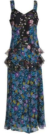 Anna Sui Ruffled Printed Tulle And Silk-Georgette Midi Dress