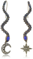 Roberto Cavalli Snake Metal and Blue Stone Earrings