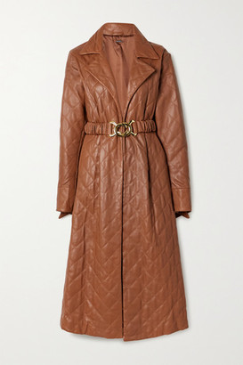 Dodo Bar Or Samara Belted Quilted Leather Midi Dress - Brown