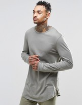 Asos Relaxed Longline Long Sleeve T-Shirt With Curve Hem And Hem Zips In Khaki