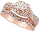 Macy's Diamond Twist Bridal Set (1 ct. t.w.) in 14k Rose Gold