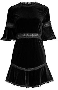 Alice + Olivia Women's Doloris Embroidered Velvet Mini Dress - Size 0