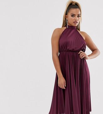 Asos DESIGN Petite Halter Pleated Waisted Midi Dress-Purple