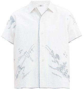 Bode Mountain Tableau Embroidered Cotton Bowling Shirt - Blue White