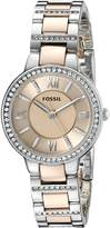 Fossil Women's ES3405 Virginia Three-Hand Stainless Steel Watch - Two-Tone Rose Gold-Tone
