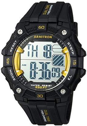 Armitron Sport Men's 40/8403YBK Yellow Accented Digital Chronograph Black Resin Strap Watch