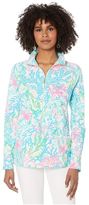 Lilly Pulitzer UPF 50+ Skipper Popover (Bright Agate Green Colorful Camelflage) Women's Clothing