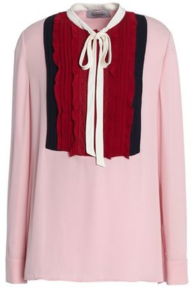 Valentino Pussy-bow Pintucked Silk Crepe De Chine Blouse