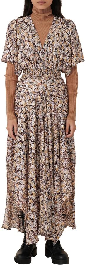 Maje Metallic Paisley Abstract Maxi Dress