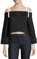 cinq a sept Orchard Tie Cold-Shoulder Cropped Sweatshirt, Black/Ivory