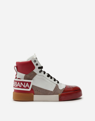 Dolce & Gabbana Miami High-Top Sneakers In A Mix Of Materials