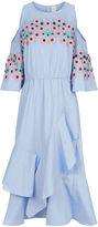 Peter Pilotto Blue Open Shoulder Embroidered Ruffle Dress