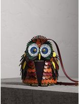 Burberry The Owl - Calf Suede and Snakeskin Crossbody Bag, Wine