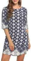 ACEVOG Women's Summer 3/4 Sleeve Printed Casual Beach Floral Dress ( XXL)