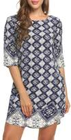 ACEVOGWomen Bohemian Neck Vintage Printed Ethnic Style Summer Shift Dress ( XXL)