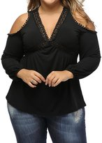 Min Qiao Women's Plus Size Sexy Cold Shoulder V-Neck Long Sleeve Crochet Tops Blouses T Shirt