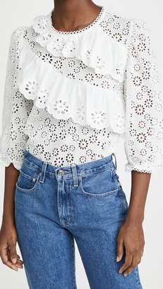 ENGLISH FACTORY Eyelet Ruffle Blouse