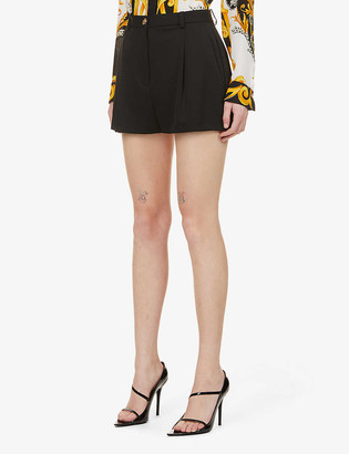 Versace Branded-button high-rise stretch-wool shorts