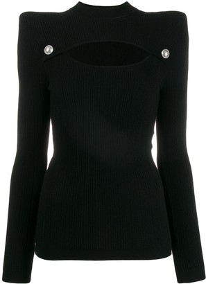 Balmain Structured Cut Out Knitted Top