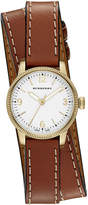 Burberry 30mm Utilitarian Double-Wrap Watch, Golden/Tan