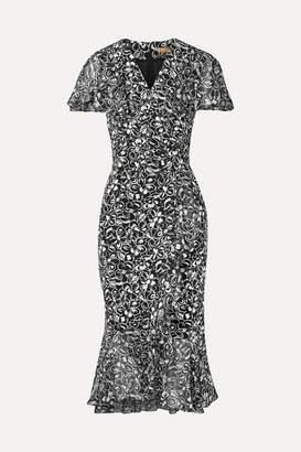 Michael Kors Wrap-effect Chiffon-trimmed Floral-print Crepe Midi Dress - Black