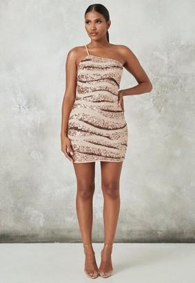 Missguided Rose Gold Embellished Asymmetric Strap Mini Dress