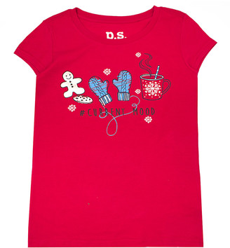 Aeropostale p.s. from Girls' Tee Shirts RED - Red '#Current Mood' Winter Cap-Sleeve Tee - Girls