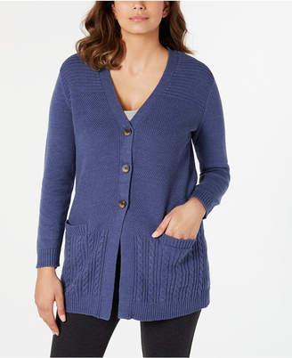 Karen Scott Mixed-Stitch Button-Front Cardigan