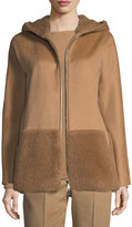 Max Mara Hooded Zip-Front Coat