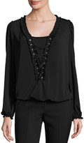 Max Studio Long-Sleeve Lace-Up Blouse, Black