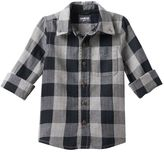 Osh Kosh Boys 4-7x Black Checkered Flannel Button-Down Shirt