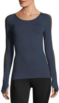 Michi Bolt Scoop-Neck Long-Sleeve Running Top with Mesh