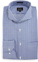 Neiman Marcus Classic Fit Dobby Check Dress Shirt, Blue