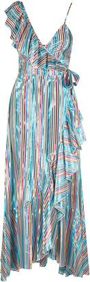 Black Coral Stripe Print Wrapped Dress