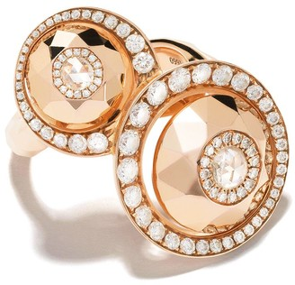 David Morris 18kt rose gold diamond Cut Forever Double Disc ring