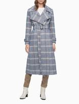 Wool Blend Blue Multi Plaid Belted Coat