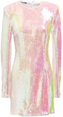 Balmain Iridescent Sequined Satin-crepe Mini Dress