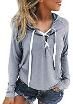 Honhui New Women Sweatshirt Hoodie Lace Up Long Sleeve Crop Causal Top Coat Sports Pullover