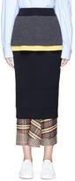 Enfold Layered wool rib knit pencil skirt