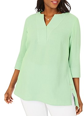 Foxcroft Plus Vena Cotton Gauze V-Neck Tunic