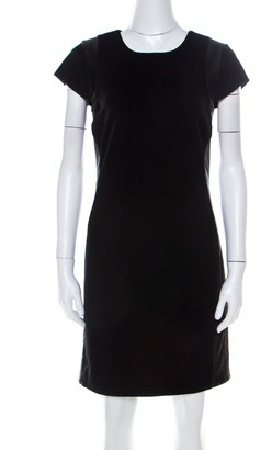 Diane von Furstenberg Black Knit Pele Leather Shift Dress M