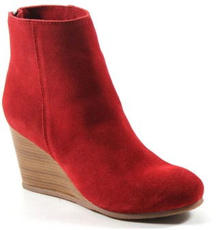 Diba True Round-Toe Leather Wedge Bootie - NowWow