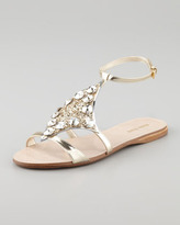 Miu Miu Embellished Lame Sandal