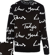 River Island MensBlack city print knitted sweater