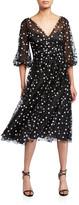 Carmen Marc Valvo Dotted Tulle Puff-Sleeve Dress