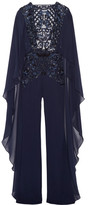 Zuhair Murad - Open-back Embellished Tulle, Chiffon And Silk-blend Crepe Jumpsuit - Navy