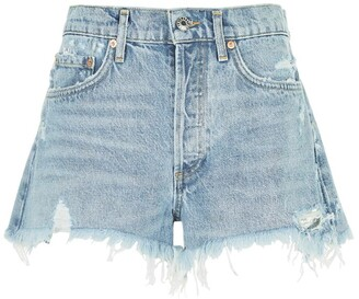 A Gold E Agolde Parker Fringed Denim Shorts