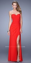 La Femme Ruched Crossover Jersey Prom Dress