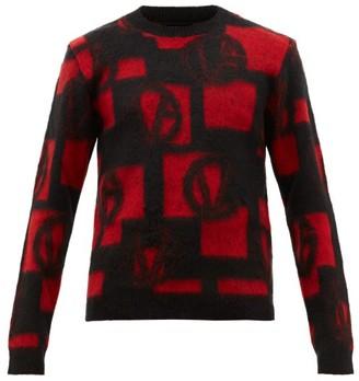Versace Vg Logo-jacquard Sweater - Black Red